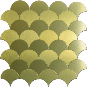 A16073 - 10 Sheets Fan-shaped Metal Mosaic Gold Peel and Stick Backsplashes Tiles 12x12In