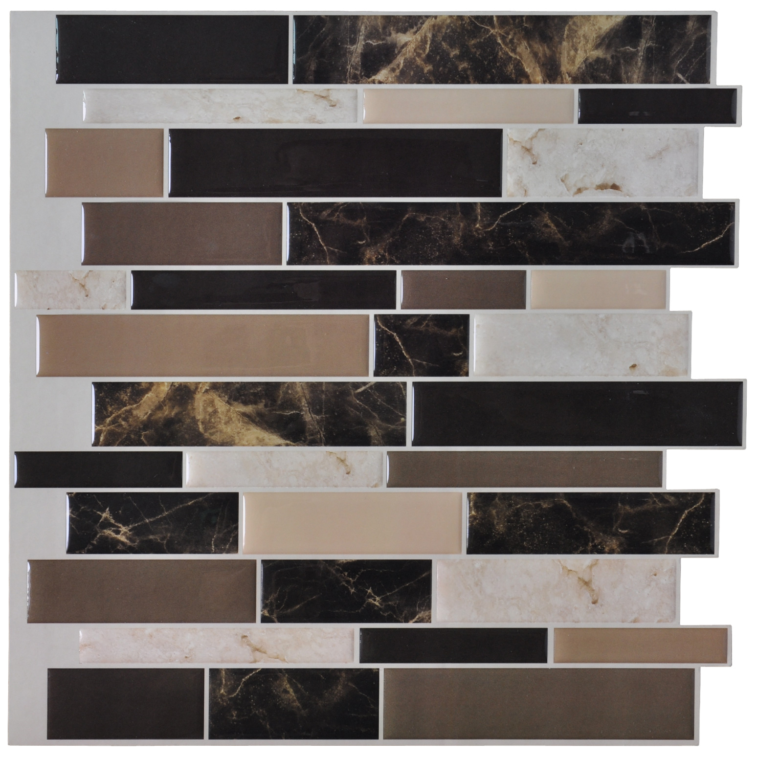A17024 - Vinyl Self-Adhesive Backsplash Tiles for Kitchen, 12