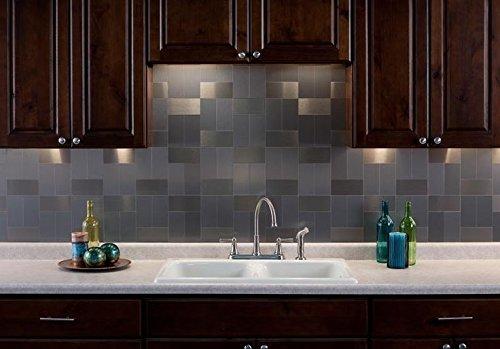 100 piece peel and stick tile metal backsplash for kitchen for Stainless steel subway tile backsplash peel and stick