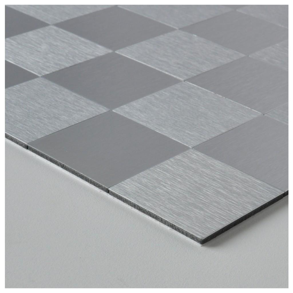 Brush Silver Metal Tiles