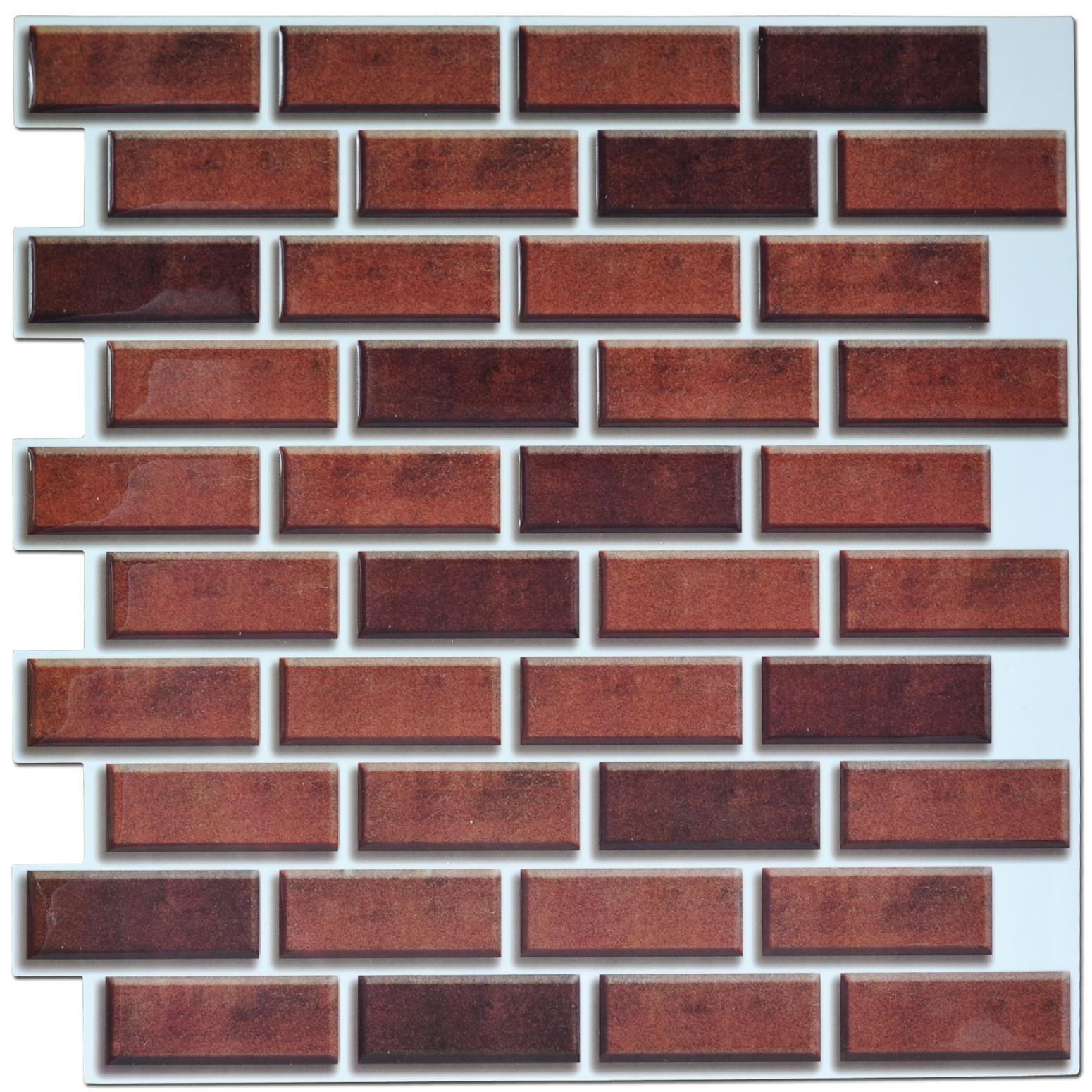 Peel and stick brick backsplash tile for kitchen 12 x12 for Peel and stick tile