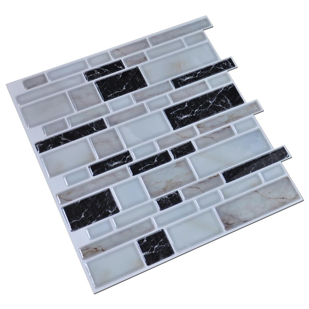 Peel N Stick Kitchen Backsplash Tile Stone Brick Pattern, Set of 6
