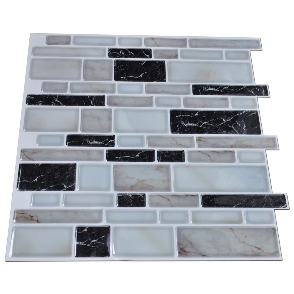 Peel n stick kitchen backsplash tile stone brick pattern for Tile wallpaper backsplash