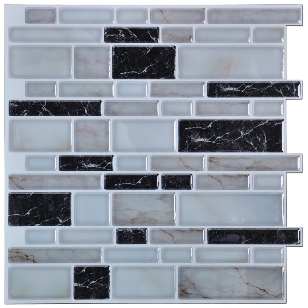 A17035P6   Peel N Stick Kitchen Backsplash Tile Stone Brick Pattern, Set Of  6